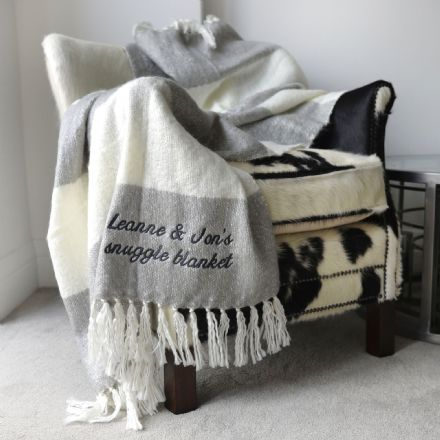 Personalised Tassel Blanket In Cream And Grey
